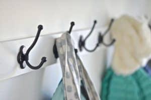 detail of mudroom hooks