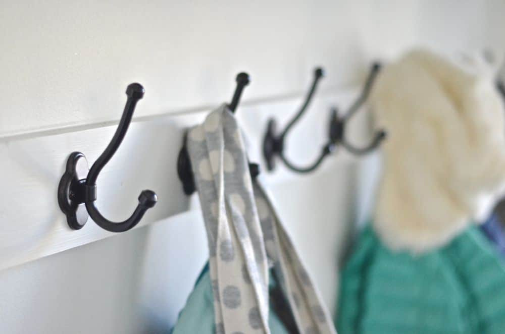 detail of mudroom hooks