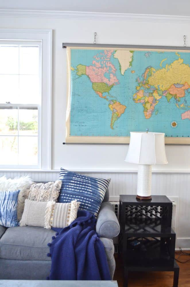 edge of vintage map in family room