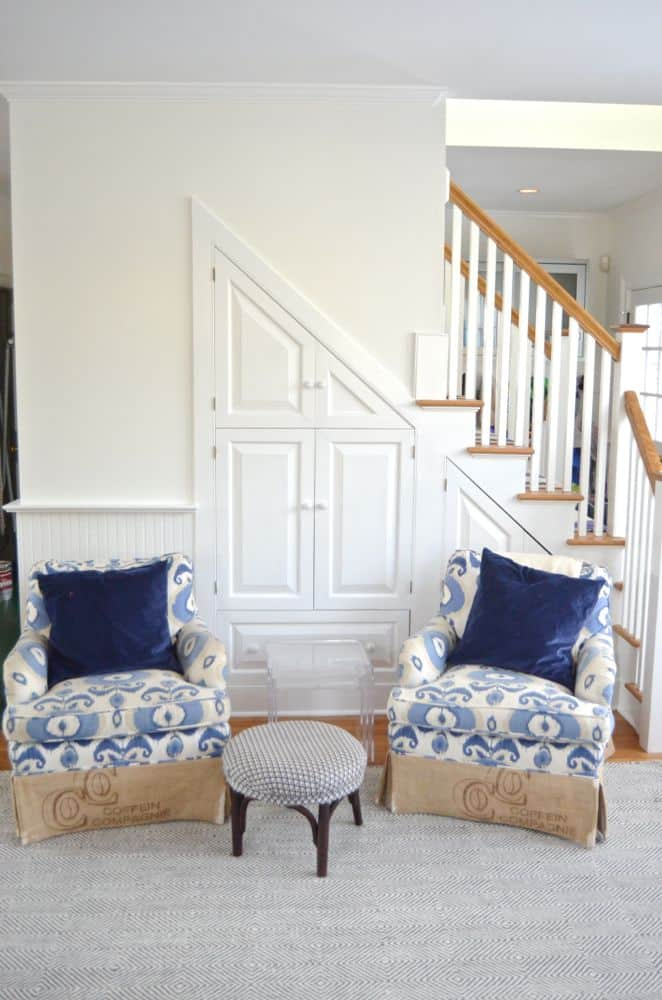 ikat chairs against stairs