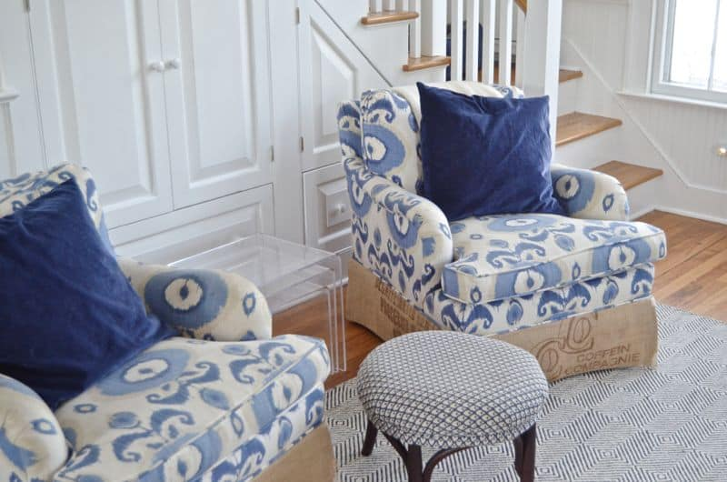ikat chairs with stool
