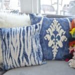 mixed blue throw pillows