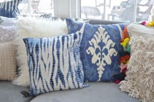 mixed blue throw pillows