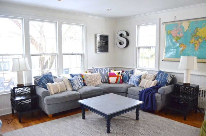painted family room with sectional