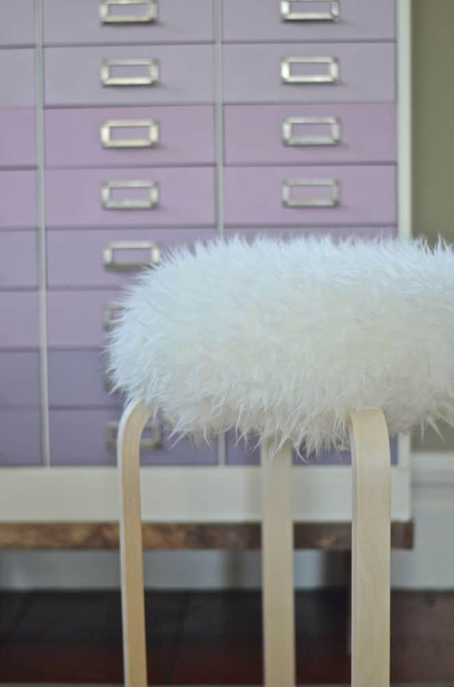 sheepskin on fur stool