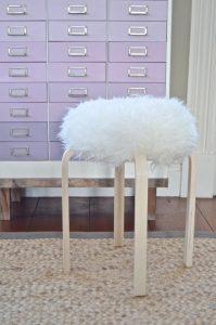 sheepsking stool