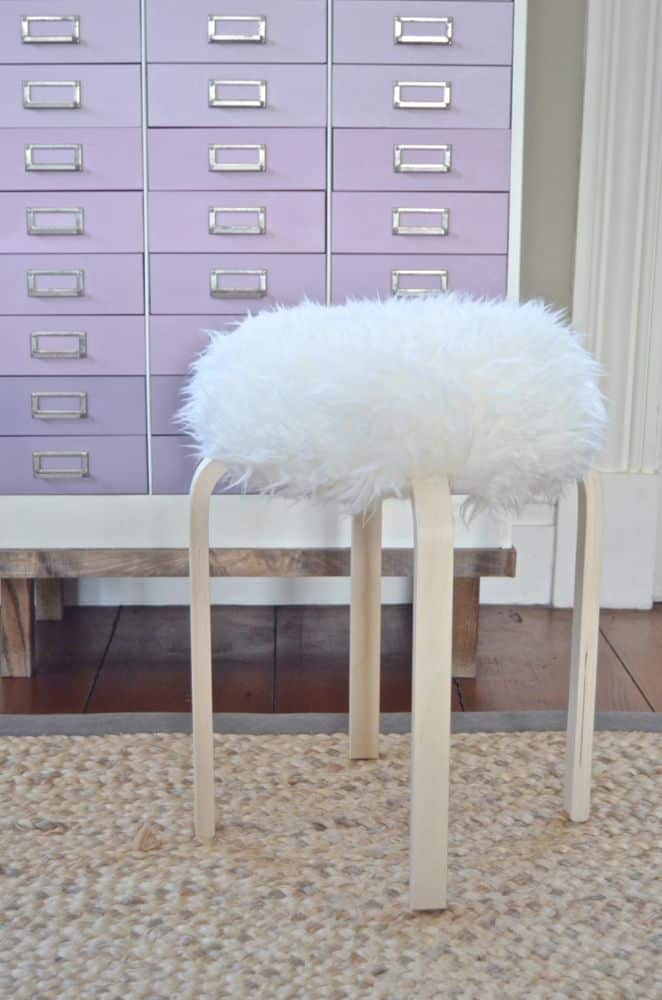 sheepsking stool