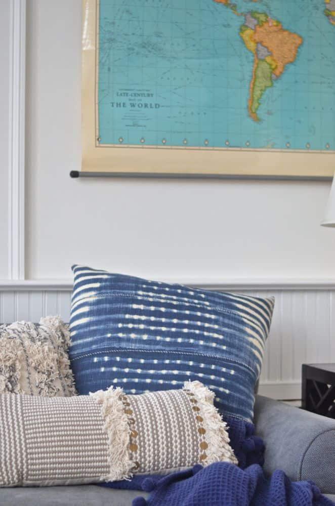 shibori pillow on couch