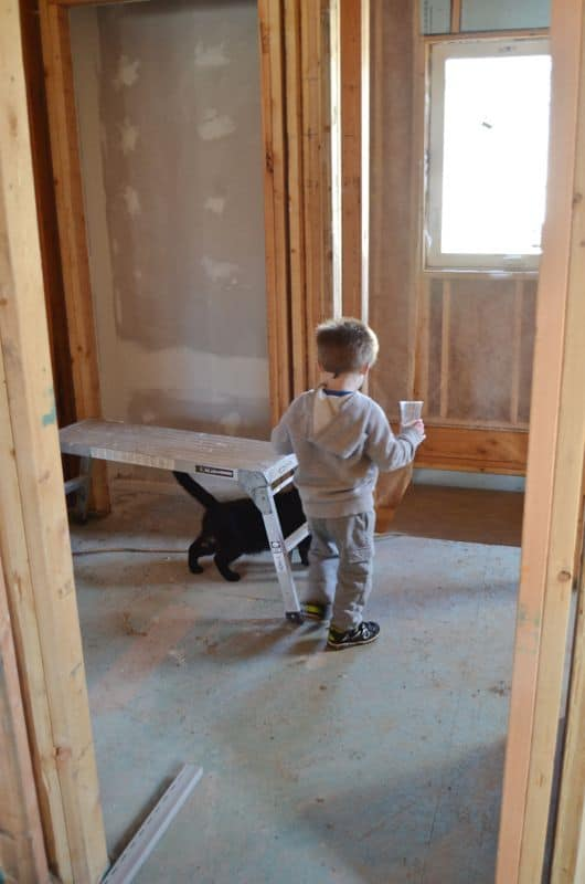 Child with cat in new house