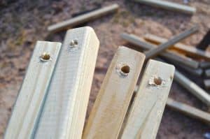 Holes drilled through spindles