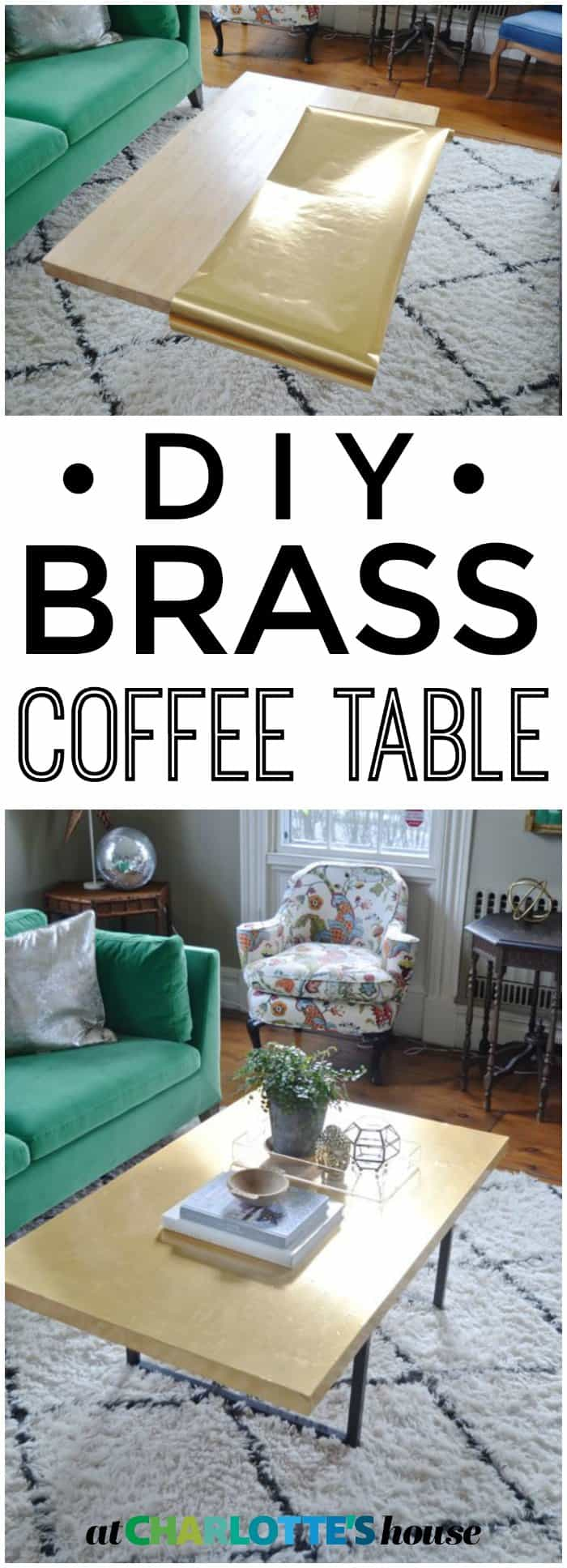 This brass coffee table is SO easy to make! Transform any table to this chic brass beauty!
