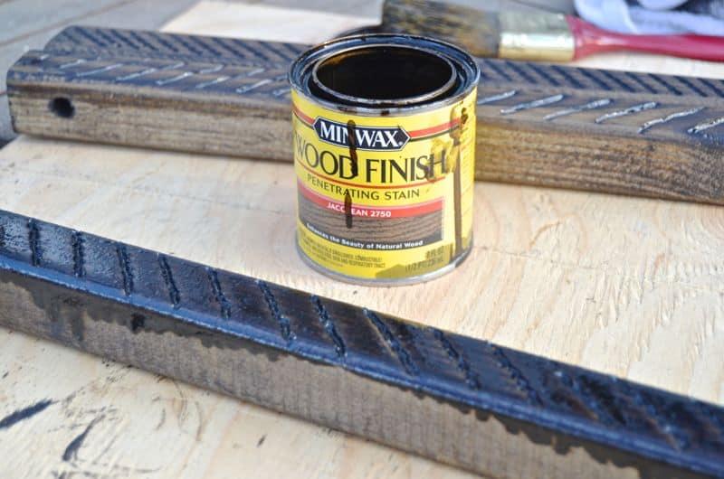 Stain for wooden door mat