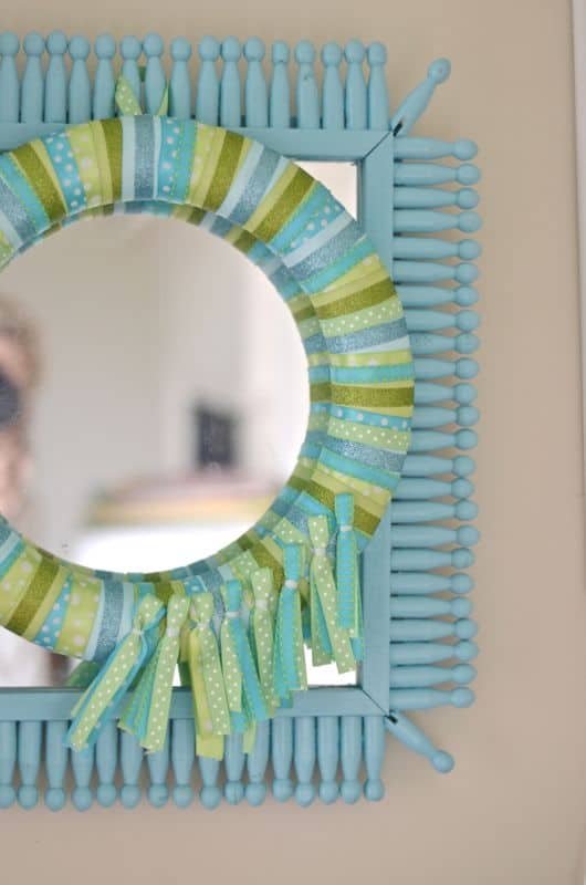 Tassel wreath hanging on mirror