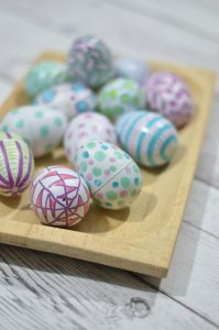 bowl of decorated easter eggs