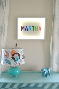 custom light box with child's name