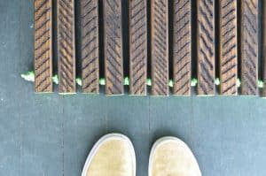 etched doormat with cord