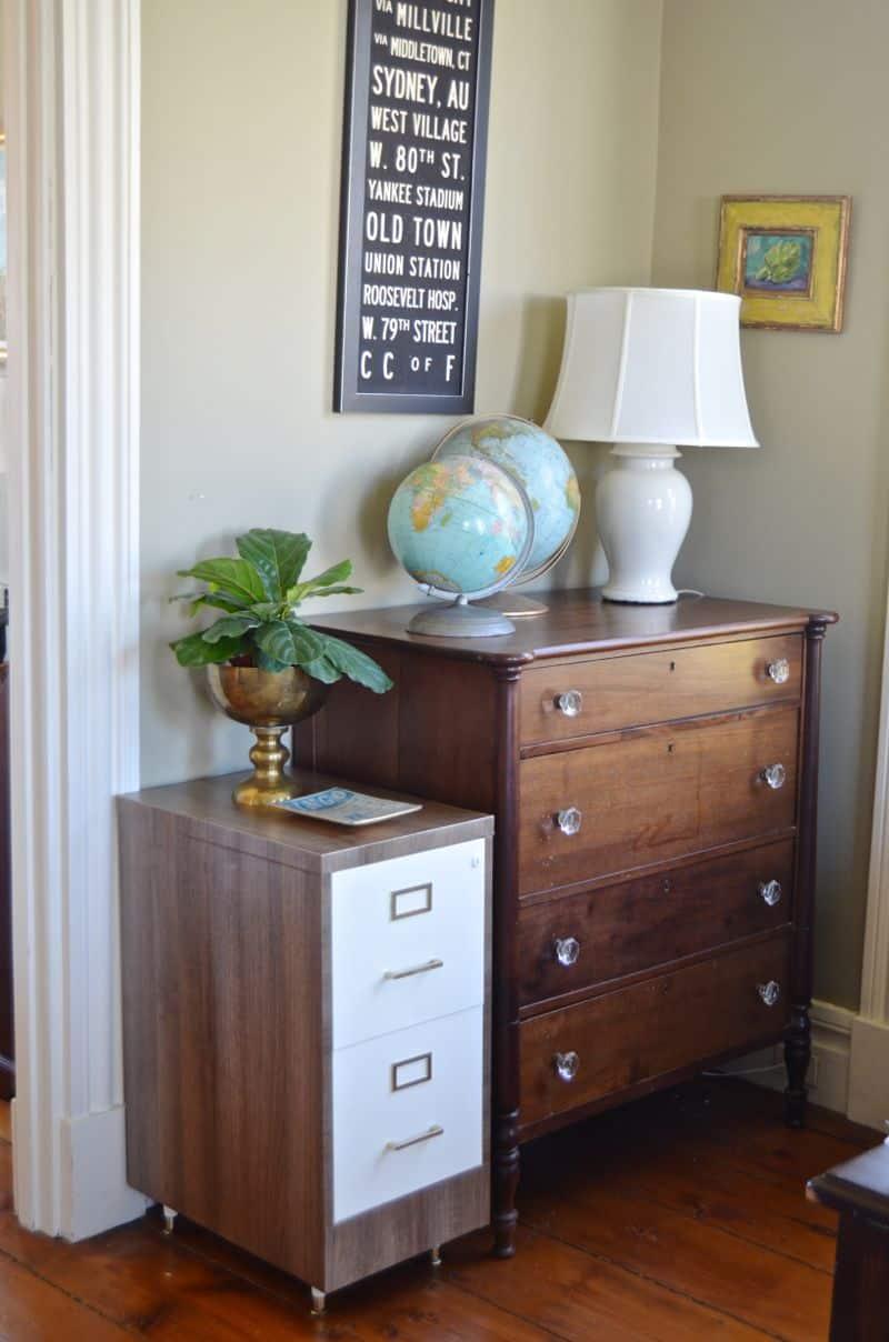 faux wood grain file cabinet