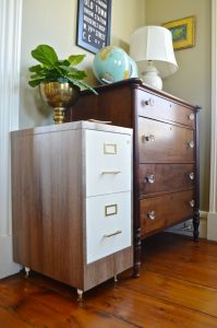 file cabinet made over with woodgrain