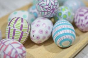 spray paint and paint pen easter eggs