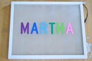 vinyl letters on frame