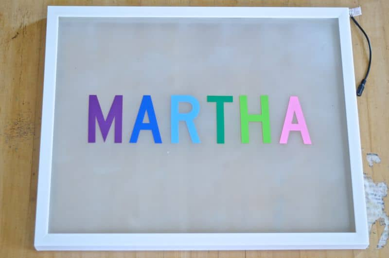 DIY light box with custom name
