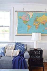 White wall behind map