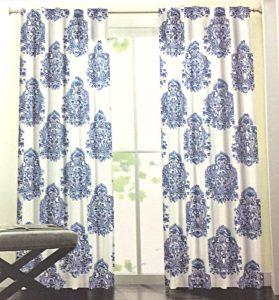 amazon blue white curtains