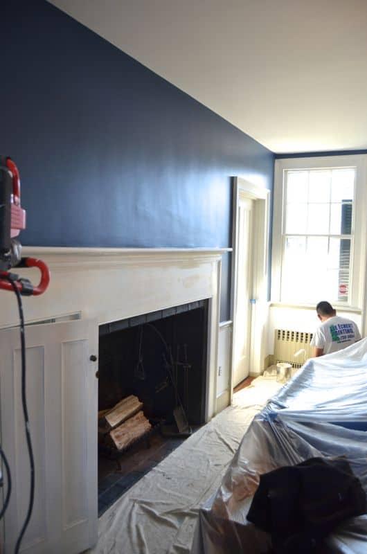 blue dining room in progress