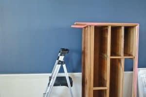 dresser on edge for painting