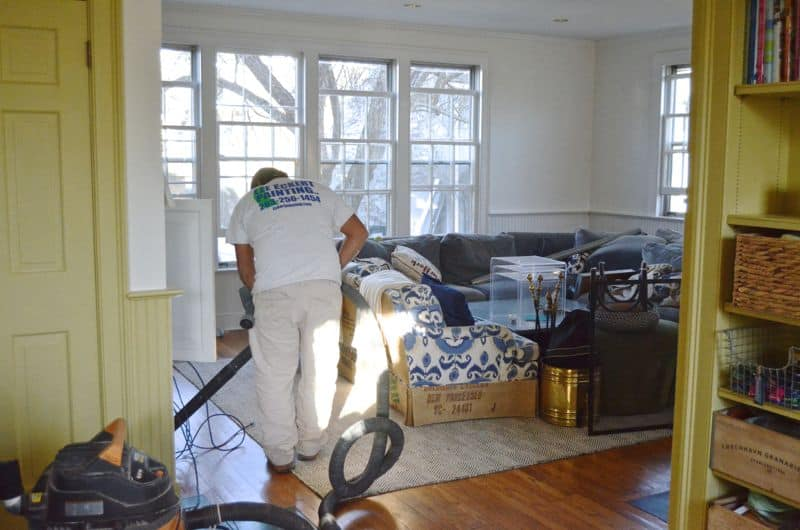 family room painting in progress