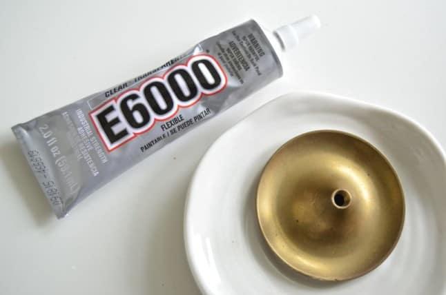 glue candlestick to saucer