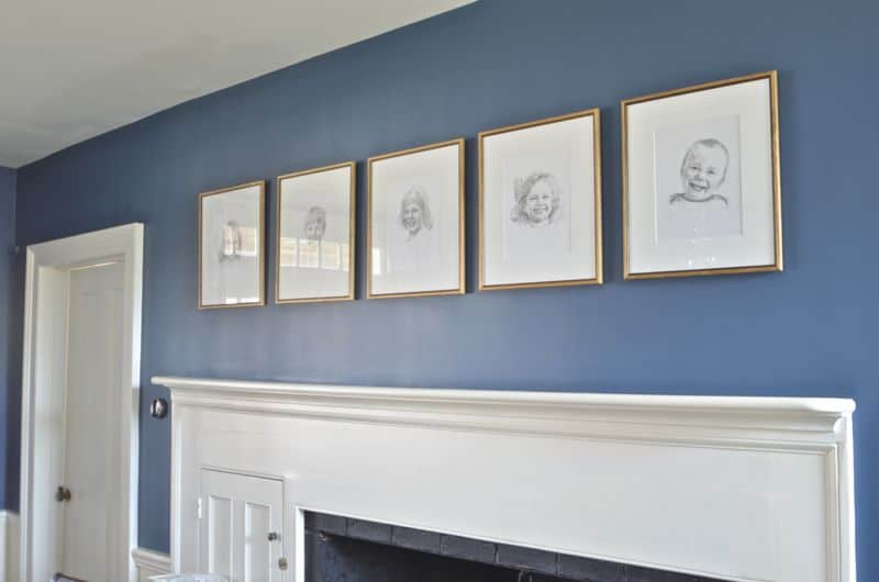 kids portraits in dining room
