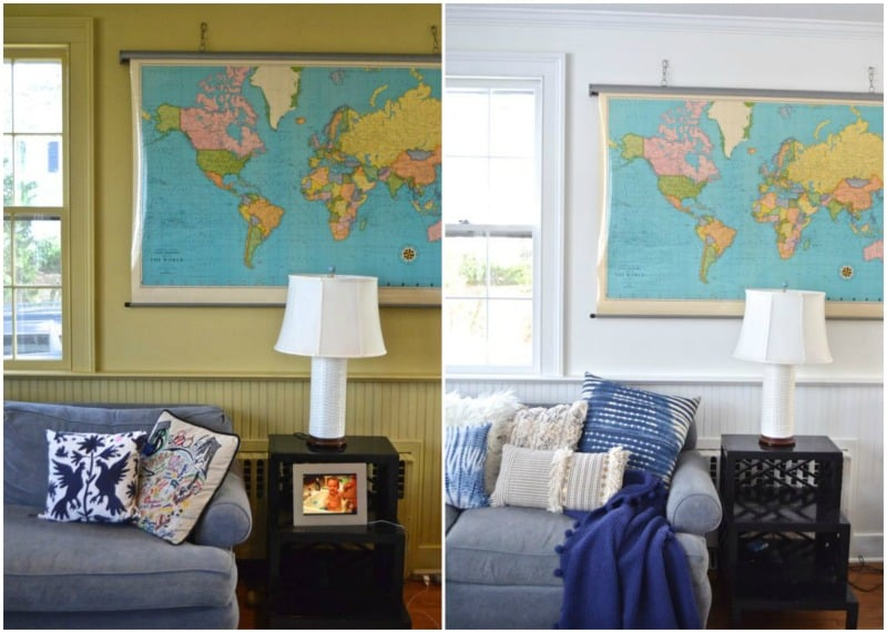 paint behind map in family room