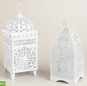 white boho candle holder