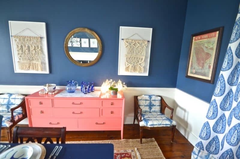 Coral sideboard with tie dye chairs