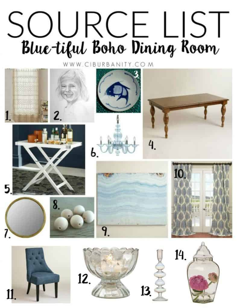 Blue-tiful Dining Room Source List
