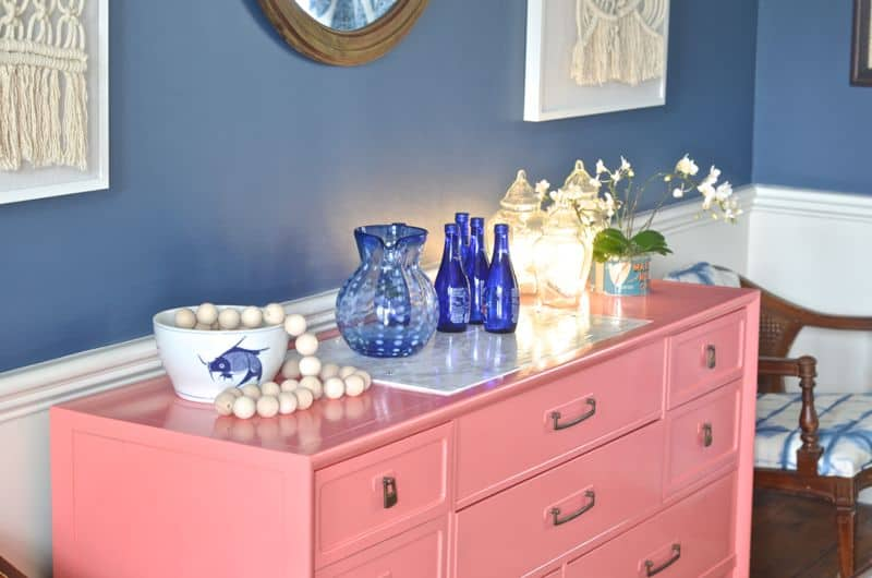 accessories on coral sideboard