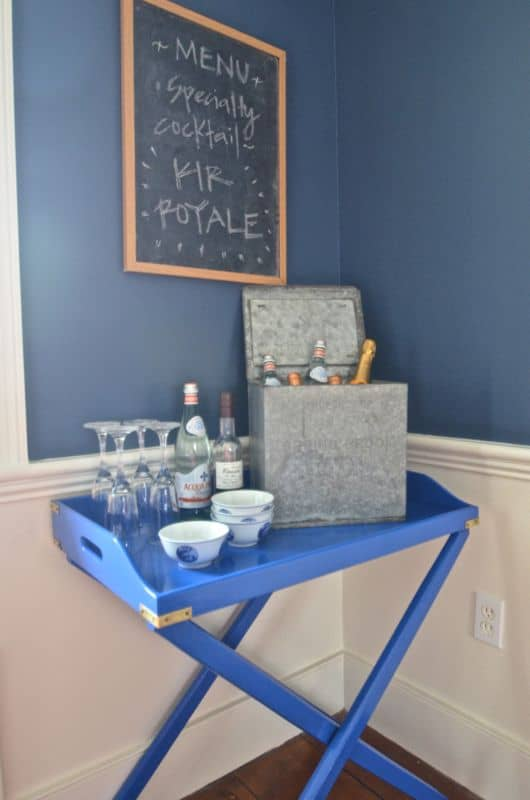 blue bar cart