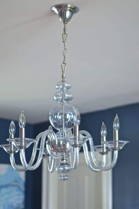 blue glass chandelier