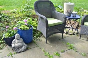How to decorate a patio with mixed and matched eclectic furniture.