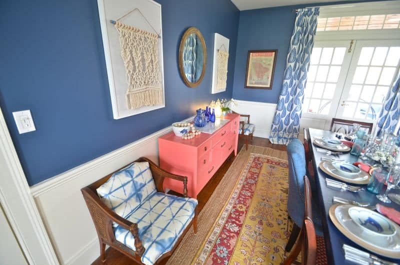 coral and blue in dining room