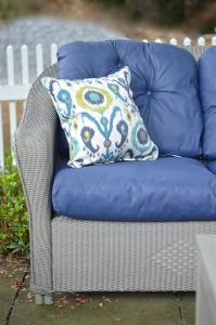 corner cushion on painted patio couch