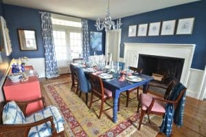 eclectic navy and white dining room