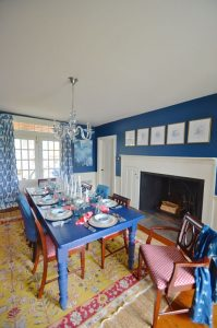 fireplace in eclectic dining room