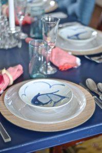 fish dishes at navy table