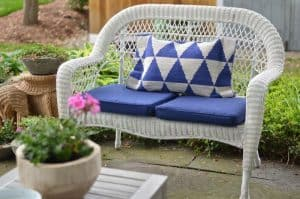 loveseat with graphic pillow