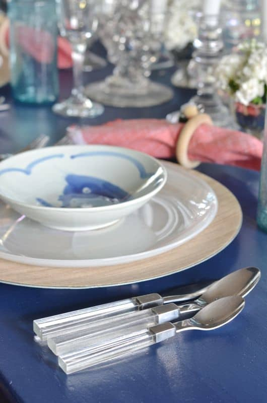 lucite silverware with navy table