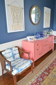 macrame and coral sideboard