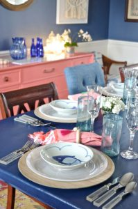 navy fish plates at dining table