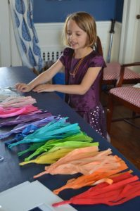 organizing rainbow tassels
